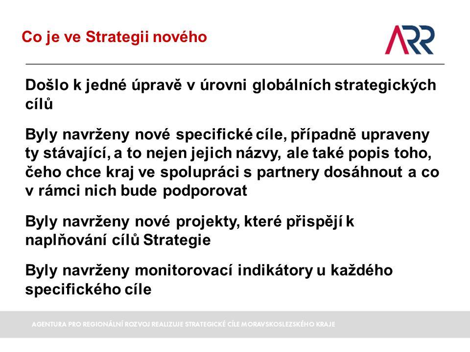 Moravskoslezský kraj - konkurenceschopný region úspěšných a spokojených lidí Globální cíl 1 – Konkurence schopná, inovačně založená ekonomika 4 specifické strategické cíle projekty, které přispívají k naplňování strategie 8 Globální cíl 2 – Dobré vzdělání a vysoká zaměstnanost - příležitost pro všechny 6 specifických strategických cílů projekty, které přispívají k naplňování strategie 19 Globální cíl 3 - Soudržná společnost – kvalitní zdravotnictví, cílené sociální služby a úspěšný boj proti chudobě 6 specifických strategických cílů projekty, které přispívají k naplňování strategie 31 Globální cíl 4 - Kvalitní a kulturní prostředí, služby a infrastruktura pro život, práci a návštěvu 11 specifických strategických cílů projekty, které přispívají k naplňování strategie 65 Globální cíl 5 - Efektivní správa věcí veřejných 4 specifické strategické cíle projekty, které přispívají k naplňování strategie 16