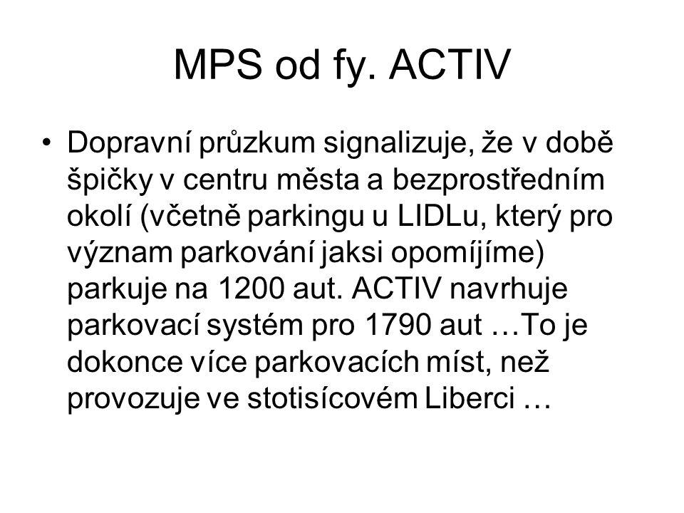 MPS od fy. ACTIV •Dopravní průzkum signalizuje, že v době špičky v centru města a bezprostředním okolí (včetně parkingu u LIDLu, který pro význam park