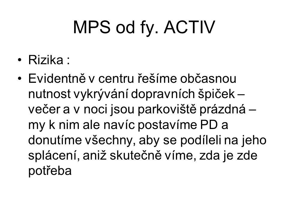 MPS od fy. ACTIV •Rizika : •Evidentně v centru řešíme občasnou nutnost vykrývání dopravních špiček – večer a v noci jsou parkoviště prázdná – my k nim