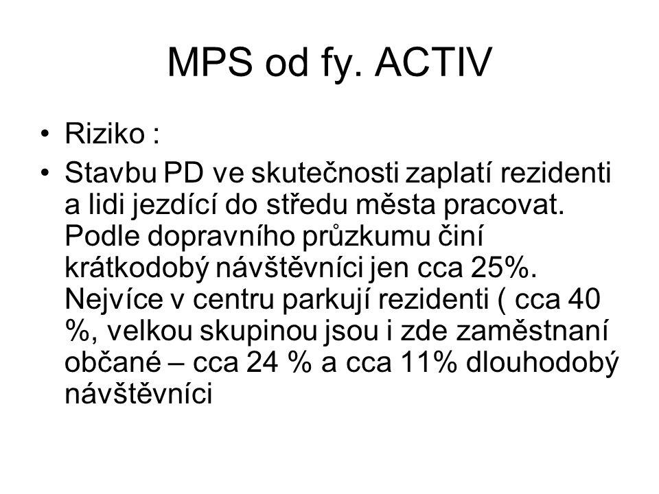 MPS od fy. ACTIV •Riziko : •Stavbu PD ve skutečnosti zaplatí rezidenti a lidi jezdící do středu města pracovat. Podle dopravního průzkumu činí krátkod