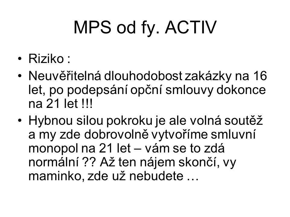 MPS od fy. ACTIV •Riziko : •Neuvěřitelná dlouhodobost zakázky na 16 let, po podepsání opční smlouvy dokonce na 21 let !!! •Hybnou silou pokroku je ale