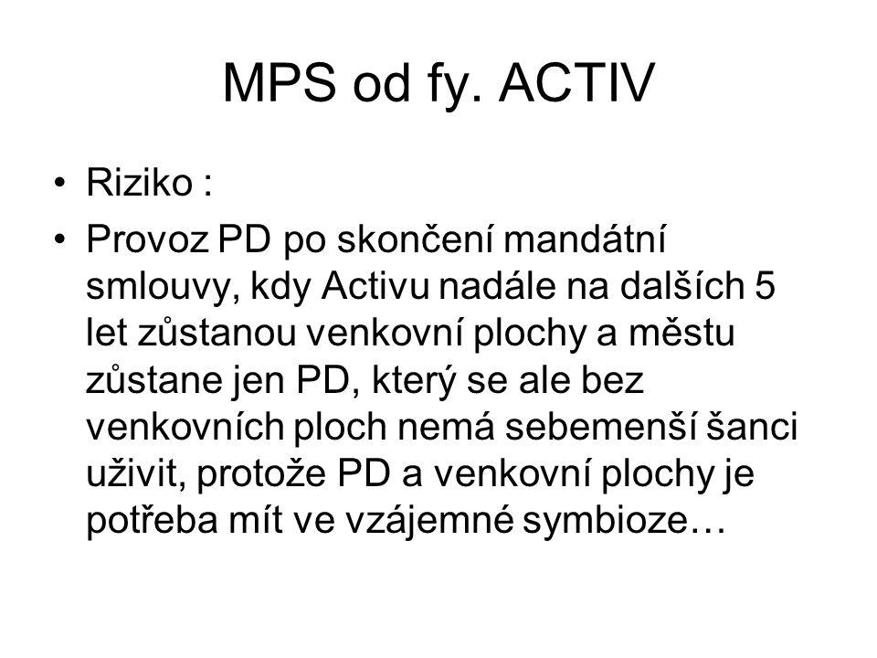 MPS od fy. ACTIV •Riziko : •Provoz PD po skončení mandátní smlouvy, kdy Activu nadále na dalších 5 let zůstanou venkovní plochy a městu zůstane jen PD
