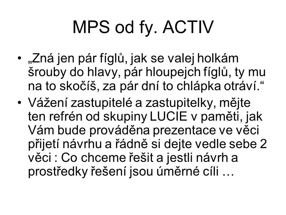 """MPS od fy. ACTIV •""""Zná jen pár fíglů, jak se valej holkám šrouby do hlavy, pár hloupejch fíglů, ty mu na to skočíš, za pár dní to chlápka otráví."""" •Vá"""