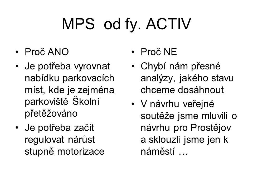 MPS od fy. ACTIV •Proč ANO •Je potřeba vyrovnat nabídku parkovacích míst, kde je zejména parkoviště Školní přetěžováno •Je potřeba začít regulovat nár