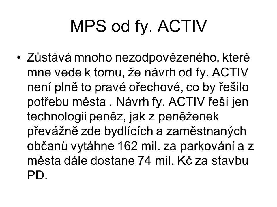 MPS od fy.ACTIV •Zůstává mnoho nezodpovězeného, které mne vede k tomu, že návrh od fy.