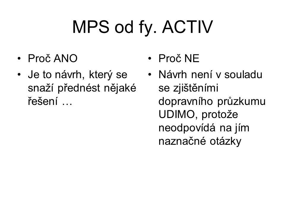MPS od fy. ACTIV •Proč ANO •Je to návrh, který se snaží přednést nějaké řešení … •Proč NE •Návrh není v souladu se zjištěními dopravního průzkumu UDIM