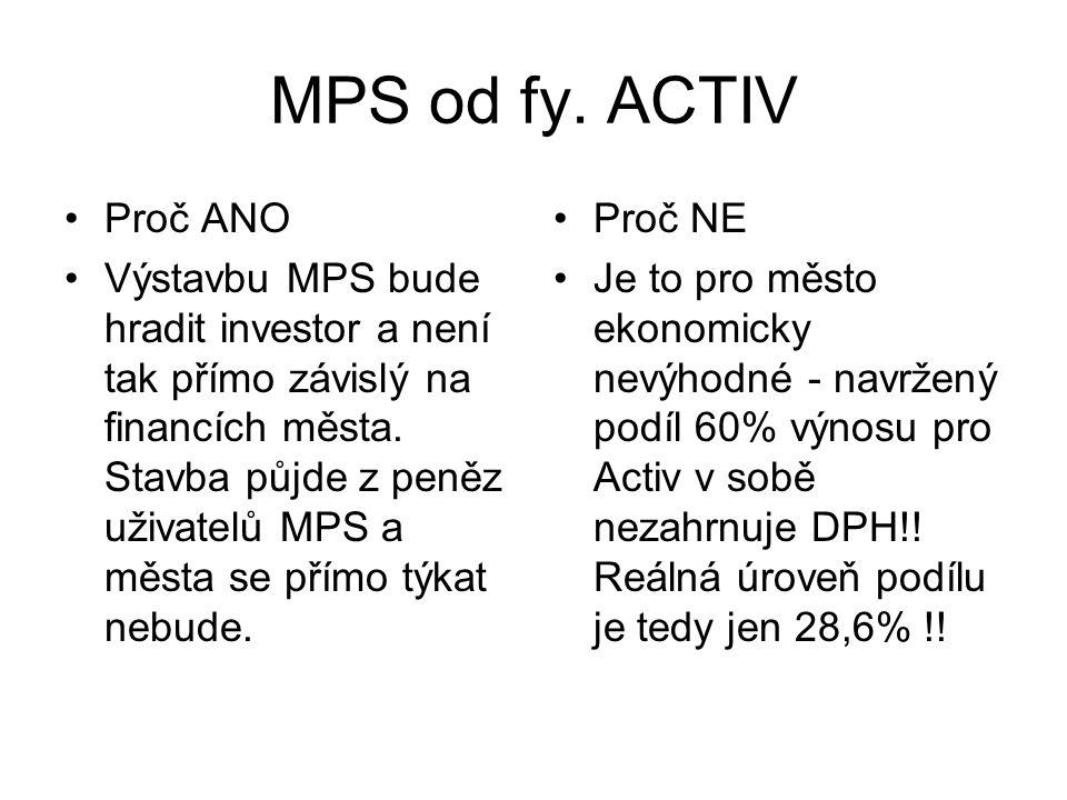MPS od fy. ACTIV •Proč ANO •Výstavbu MPS bude hradit investor a není tak přímo závislý na financích města. Stavba půjde z peněz uživatelů MPS a města