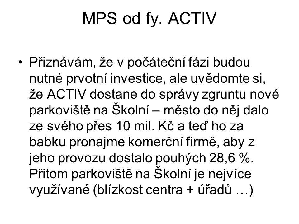 MPS od fy. ACTIV •Přiznávám, že v počáteční fázi budou nutné prvotní investice, ale uvědomte si, že ACTIV dostane do správy zgruntu nové parkoviště na