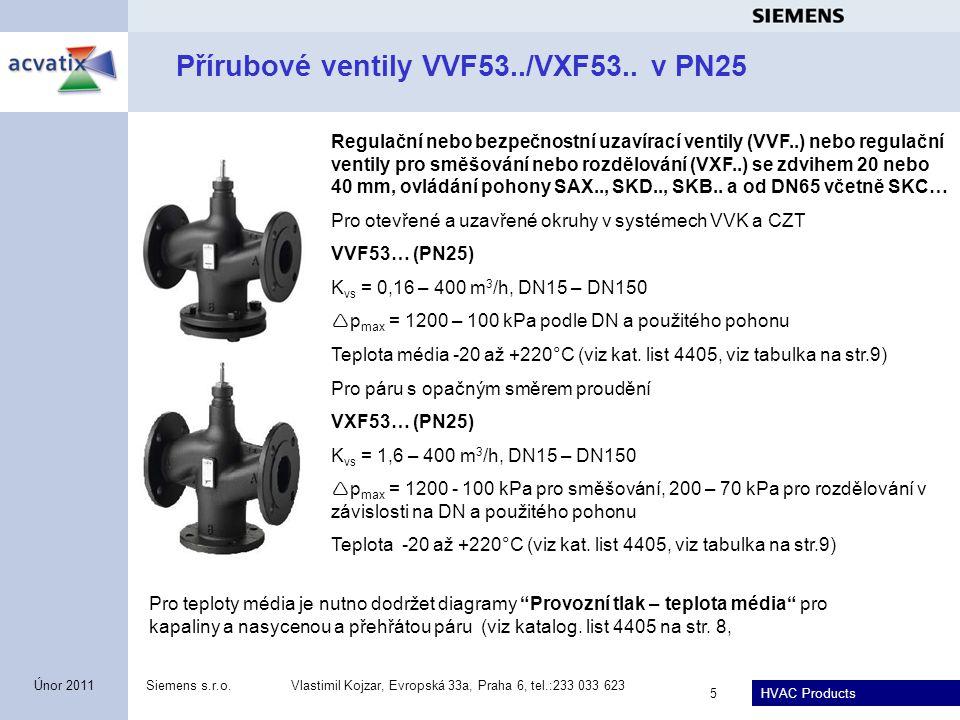 HVAC Products Siemens s.r.o.Vlastimil Kojzar, Evropská 33a, Praha 6, tel.:233 033 623 5 Únor 2011 Přírubové ventily VVF53../VXF53.. v PN25 Regulační n