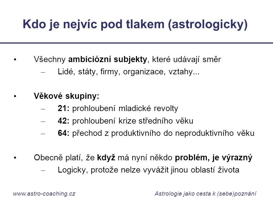 www.astro-coaching.cz Astrologie jako cesta k (sebe)poznání Kdo je nejvíc pod tlakem (astrologicky) • Všechny ambiciózní subjekty, které udávají směr