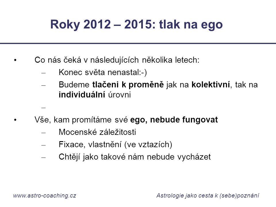 www.astro-coaching.cz Astrologie jako cesta k (sebe)poznání Roky 2012 – 2015: tlak na ego • Co nás čeká v následujících několika letech: – Konec světa