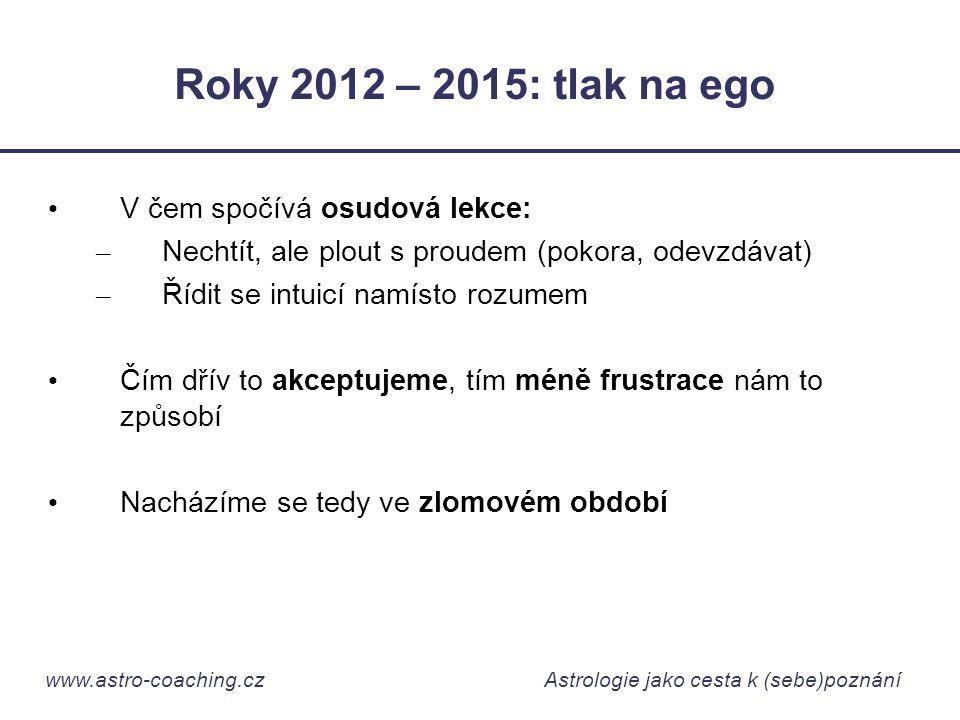 www.astro-coaching.cz Astrologie jako cesta k (sebe)poznání Roky 2012 – 2015: tlak na ego • V čem spočívá osudová lekce: – Nechtít, ale plout s proude