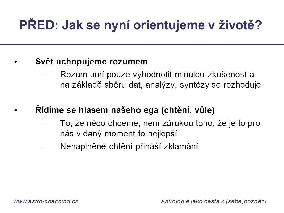 www.astro-coaching.cz Astrologie jako cesta k (sebe)poznání PŘED: Jak se nyní orientujeme v životě? • Svět uchopujeme rozumem – Rozum umí pouze vyhodn