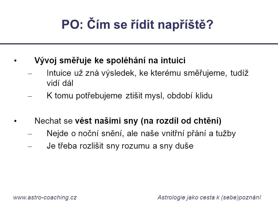 www.astro-coaching.cz Astrologie jako cesta k (sebe)poznání PO: Čím se řídit napříště? • Vývoj směřuje ke spoléhání na intuici – Intuice už zná výsled