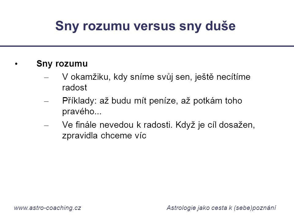 www.astro-coaching.cz Astrologie jako cesta k (sebe)poznání Sny rozumu versus sny duše • Sny rozumu – V okamžiku, kdy sníme svůj sen, ještě necítíme r