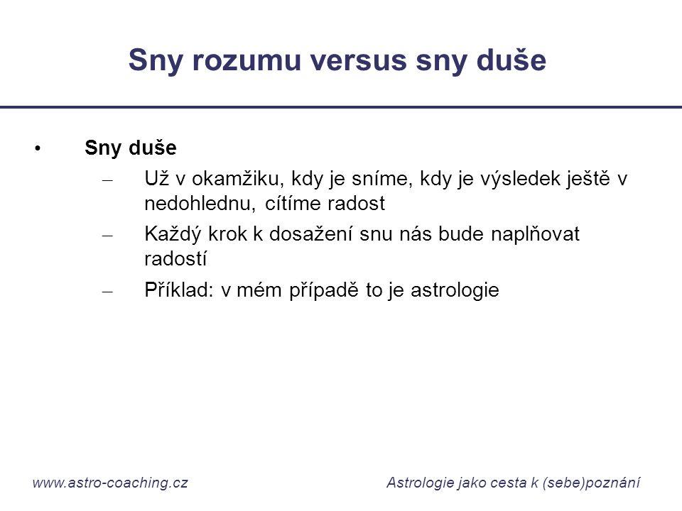 www.astro-coaching.cz Astrologie jako cesta k (sebe)poznání Sny rozumu versus sny duše • Sny duše – Už v okamžiku, kdy je sníme, kdy je výsledek ještě