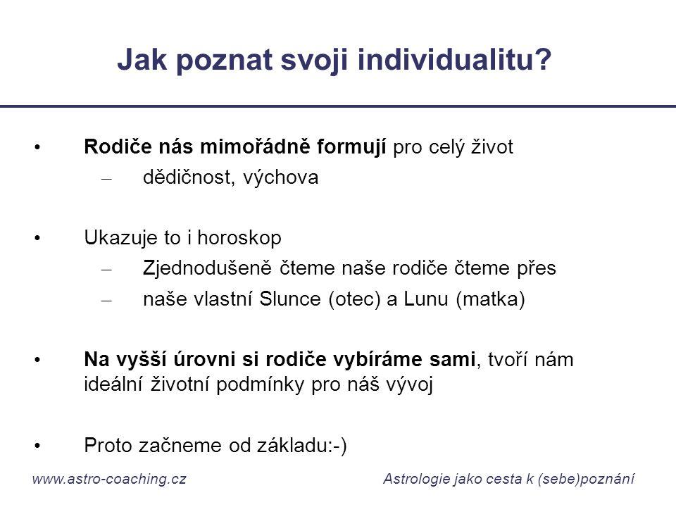 www.astro-coaching.cz Astrologie jako cesta k (sebe)poznání Jak poznat svoji individualitu? • Rodiče nás mimořádně formují pro celý život – dědičnost,