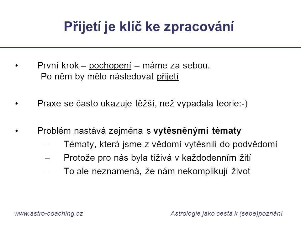 www.astro-coaching.cz Astrologie jako cesta k (sebe)poznání Přijetí je klíč ke zpracování • První krok – pochopení – máme za sebou. Po něm by mělo nás