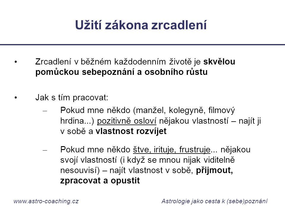 www.astro-coaching.cz Astrologie jako cesta k (sebe)poznání Užití zákona zrcadlení • Zrcadlení v běžném každodenním životě je skvělou pomůckou sebepoz