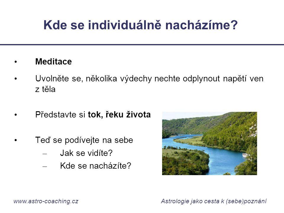 www.astro-coaching.cz Astrologie jako cesta k (sebe)poznání Kde se individuálně nacházíme? • Meditace • Uvolněte se, několika výdechy nechte odplynout