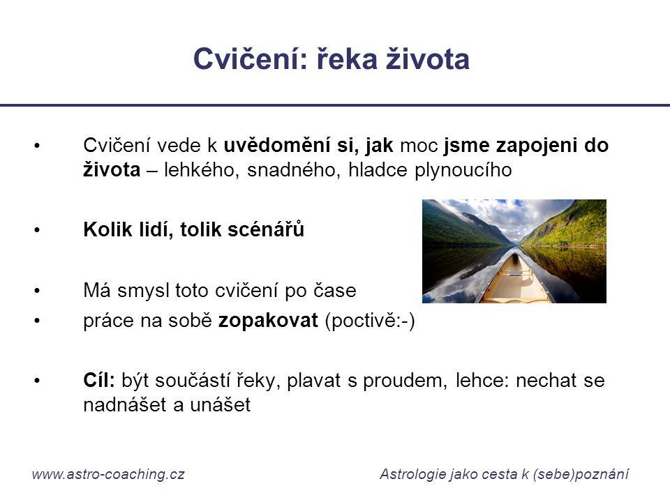 www.astro-coaching.cz Astrologie jako cesta k (sebe)poznání Cvičení: řeka života • Cvičení vede k uvědomění si, jak moc jsme zapojeni do života – lehk