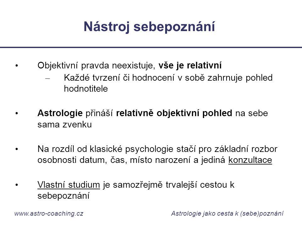 www.astro-coaching.cz Astrologie jako cesta k (sebe)poznání Nástroj sebepoznání • Objektivní pravda neexistuje, vše je relativní – Každé tvrzení či ho