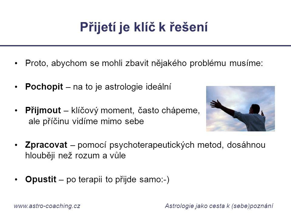 www.astro-coaching.cz Astrologie jako cesta k (sebe)poznání Přijetí je klíč k řešení • Proto, abychom se mohli zbavit nějakého problému musíme: • Poch