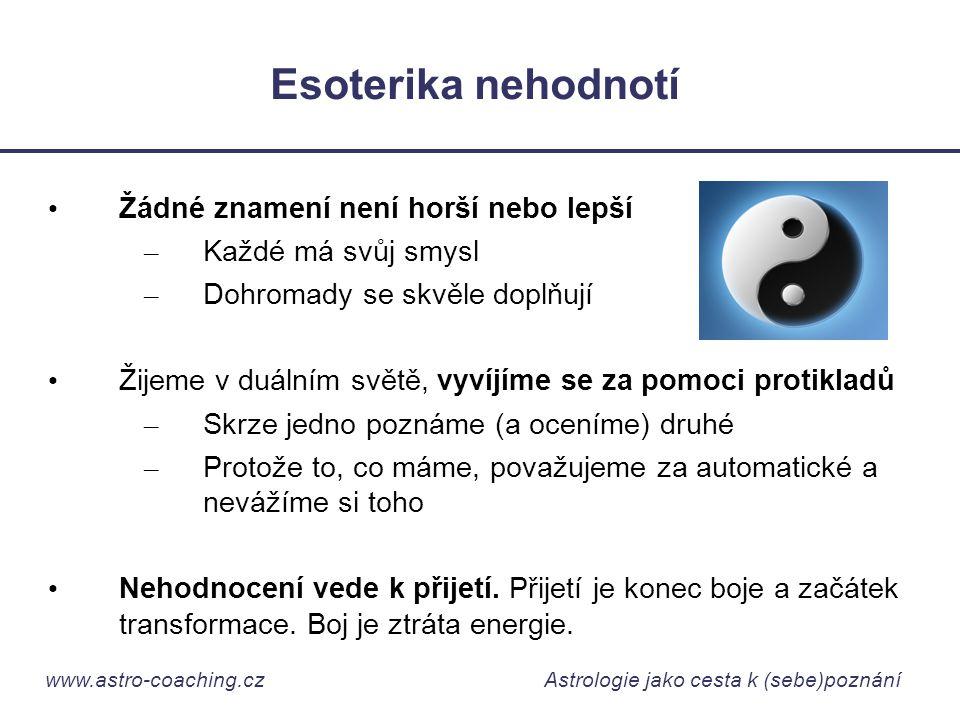 www.astro-coaching.cz Astrologie jako cesta k (sebe)poznání Esoterika nehodnotí • Žádné znamení není horší nebo lepší – Každé má svůj smysl – Dohromad