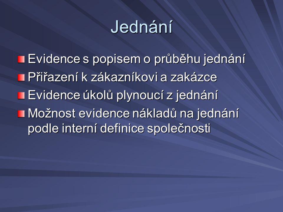 Jednání Evidence s popisem o průběhu jednání Přiřazení k zákazníkovi a zakázce Evidence úkolů plynoucí z jednání Možnost evidence nákladů na jednání podle interní definice společnosti