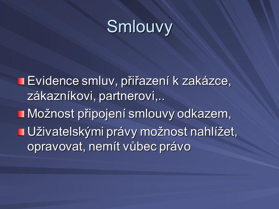 Smlouvy Evidence smluv, přiřazení k zakázce, zákazníkovi, partnerovi,.. Možnost připojení smlouvy odkazem, Uživatelskými právy možnost nahlížet, oprav