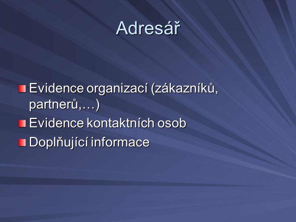 Adresář Evidence organizací (zákazníků, partnerů,…) Evidence kontaktních osob Doplňující informace