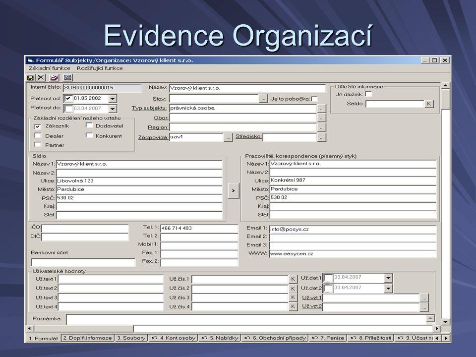 Evidence Organizací
