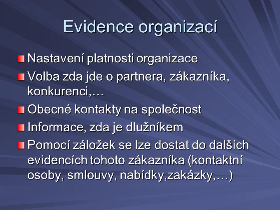 Evidence organizací Nastavení platnosti organizace Volba zda jde o partnera, zákazníka, konkurenci,… Obecné kontakty na společnost Informace, zda je d