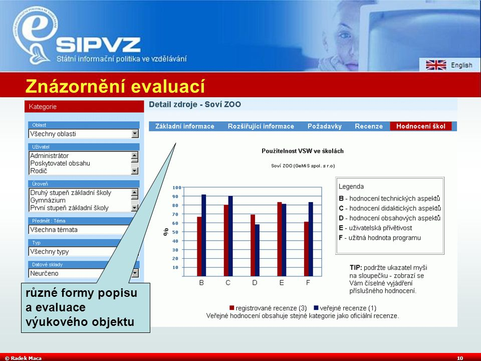 © Radek Maca10 různé formy popisu a evaluace výukového objektu Znázornění evaluací