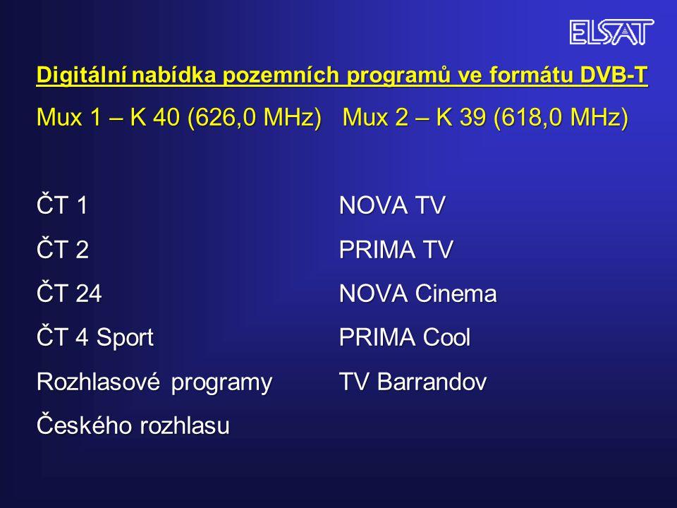 Digitální nabídka pozemních programů ve formátu DVB-T Mux 1 – K 40 (626,0 MHz) Mux 2 – K 39 (618,0 MHz) ČT 1 NOVA TV ČT 2 PRIMA TV ČT 24 NOVA Cinema ČT 4 Sport PRIMA Cool Rozhlasové programy TV Barrandov Českého rozhlasu