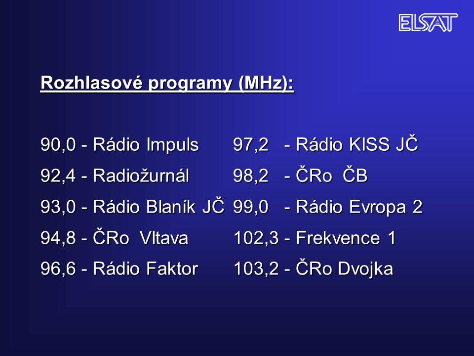 Rozhlasové programy (MHz): 90,0 - Rádio Impuls 97,2 - Rádio KISS JČ 92,4 - Radiožurnál 98,2 - ČRo ČB 93,0 - Rádio Blaník JČ99,0 - Rádio Evropa 2 94,8 - ČRo Vltava102,3 - Frekvence 1 96,6 - Rádio Faktor 103,2 - ČRo Dvojka