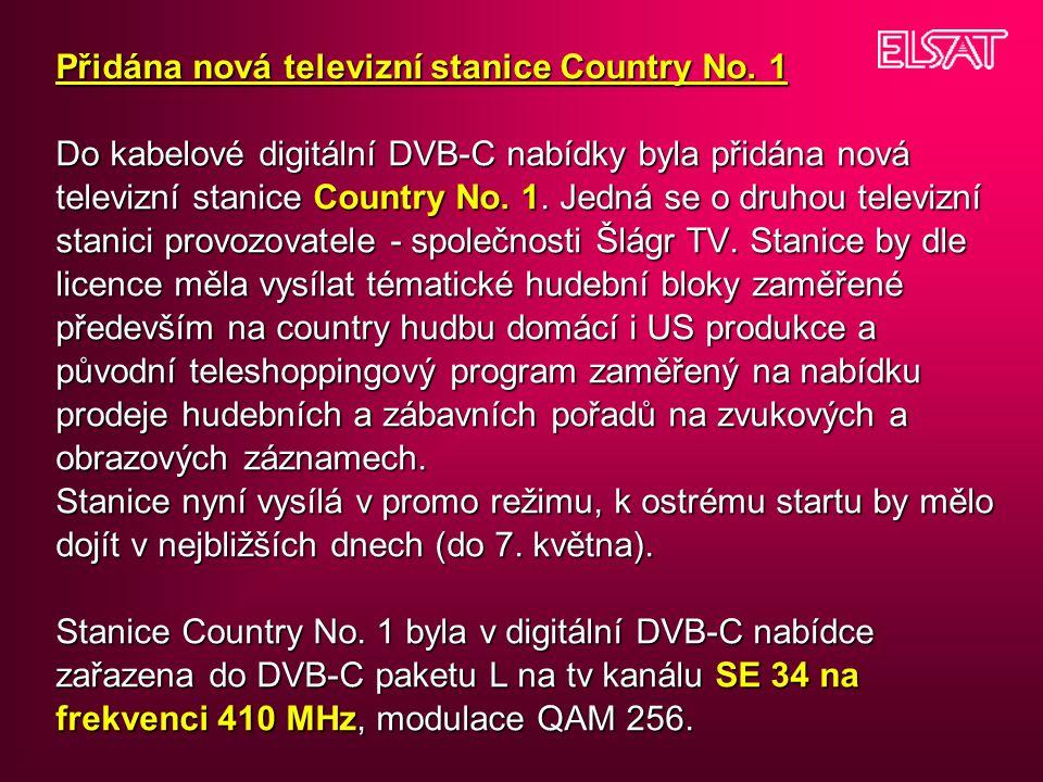 Přidána nová televizní stanice Country No.