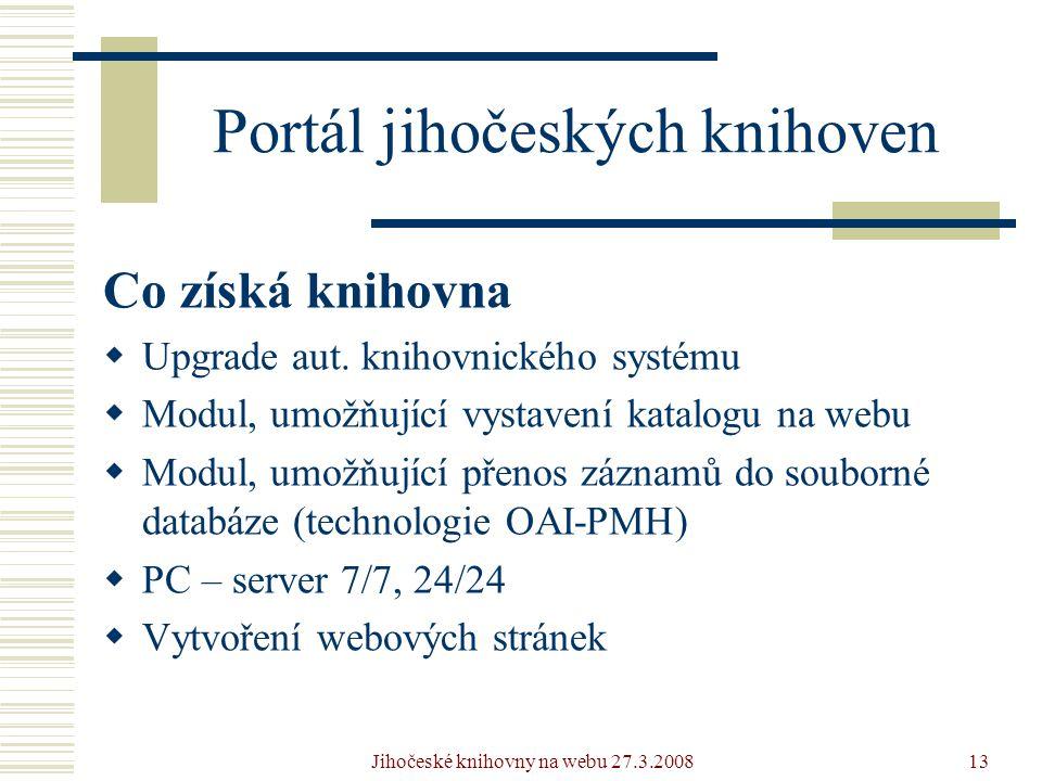 Jihočeské knihovny na webu 27.3.200813 Portál jihočeských knihoven Co získá knihovna  Upgrade aut.