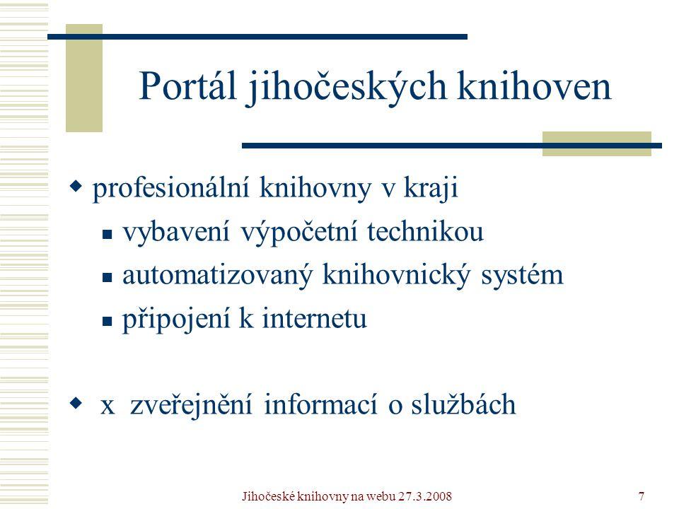 Jihočeské knihovny na webu 27.3.20087 Portál jihočeských knihoven  profesionální knihovny v kraji  vybavení výpočetní technikou  automatizovaný knihovnický systém  připojení k internetu  x zveřejnění informací o službách