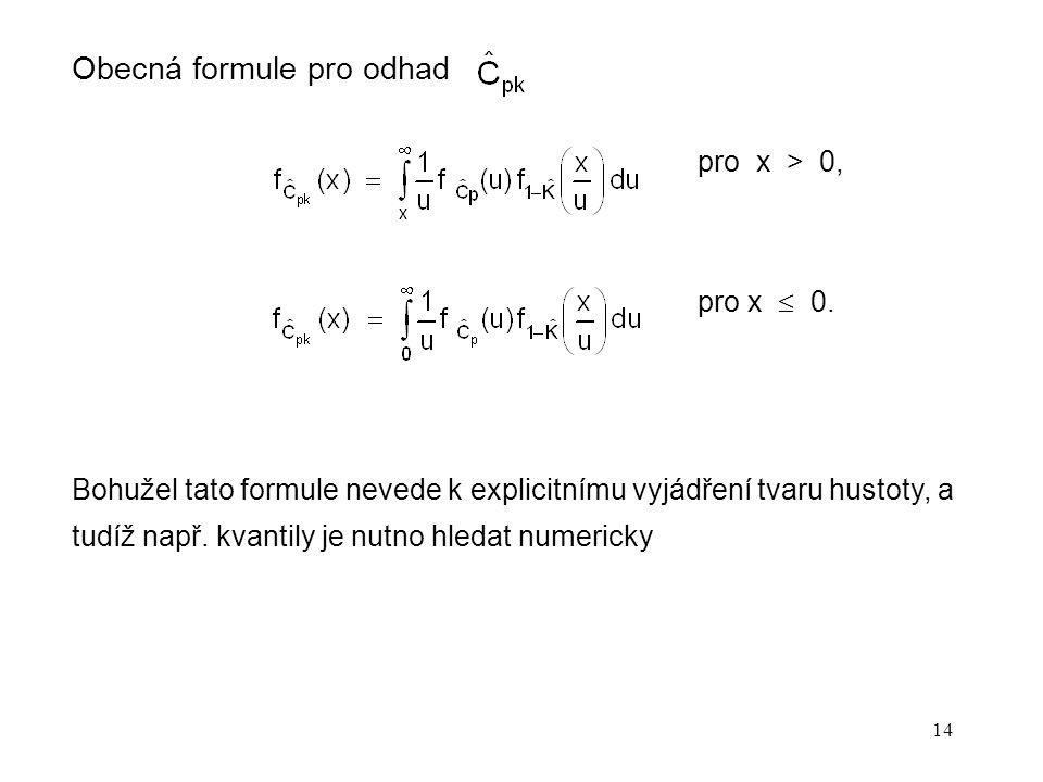 14 Obecná formule pro odhad pro x > 0, pro x  0. Bohužel tato formule nevede k explicitnímu vyjádření tvaru hustoty, a tudíž např. kvantily je nutno