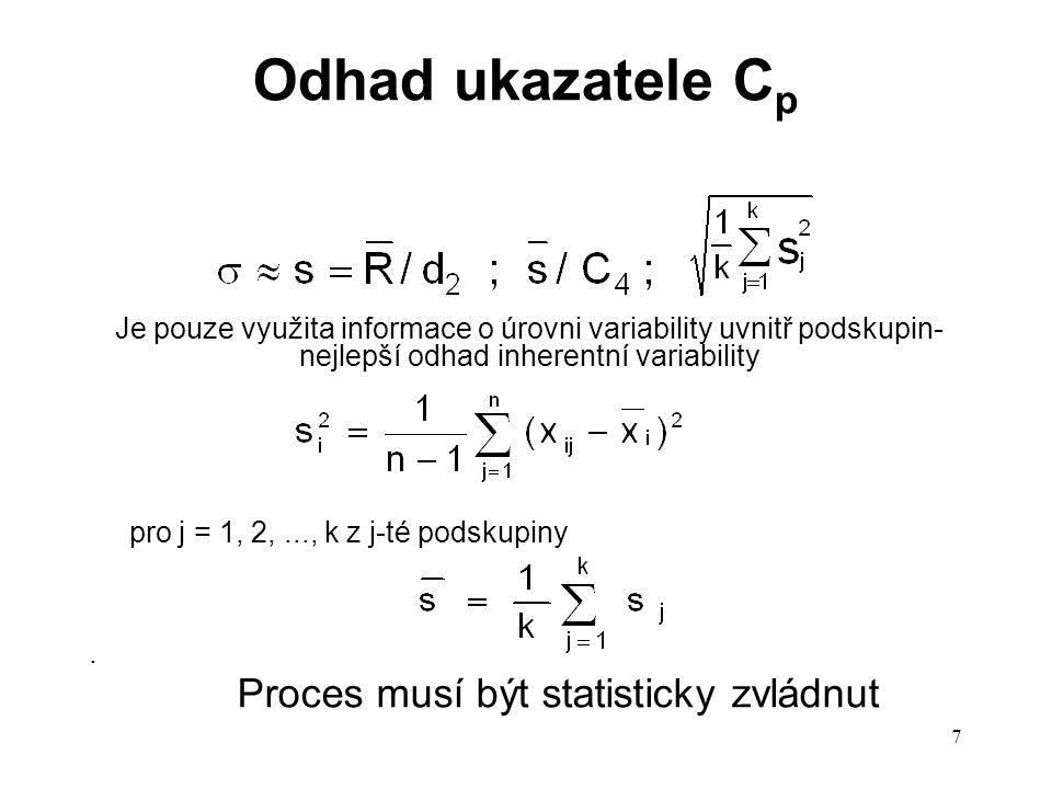 7 Odhad ukazatele C p Je pouze využita informace o úrovni variability uvnitř podskupin- nejlepší odhad inherentní variability pro j = 1, 2,..., k z j-té podskupiny.