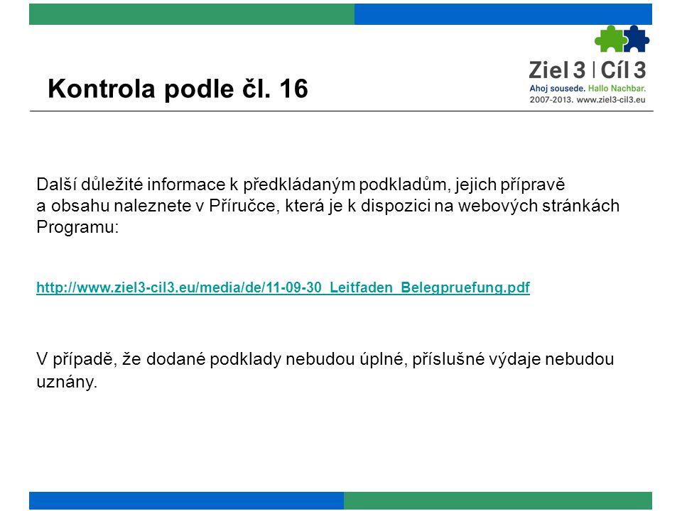 Kontrola podle čl.