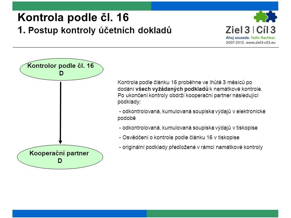 Kontrola podle čl. 16 1. Postup kontroly účetních dokladů Kontrolor podle čl.