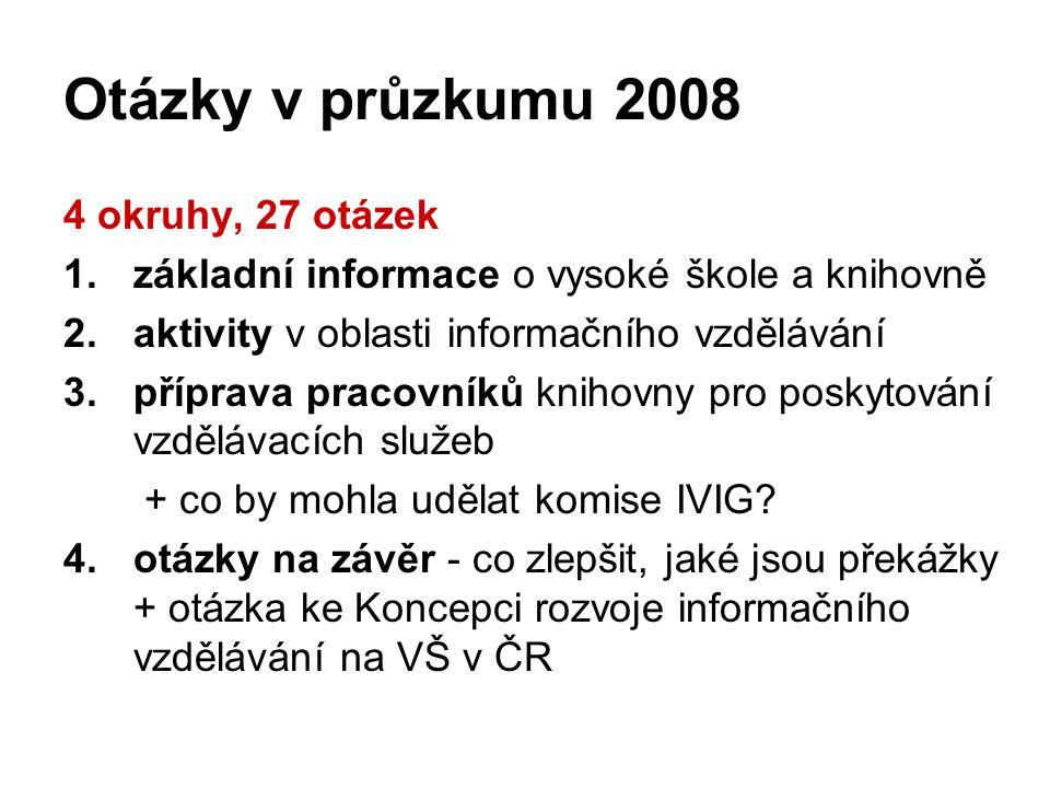 Otázky v průzkumu 2008 4 okruhy, 27 otázek 1.základní informace o vysoké škole a knihovně 2.aktivity v oblasti informačního vzdělávání 3.příprava pracovníků knihovny pro poskytování vzdělávacích služeb + co by mohla udělat komise IVIG.