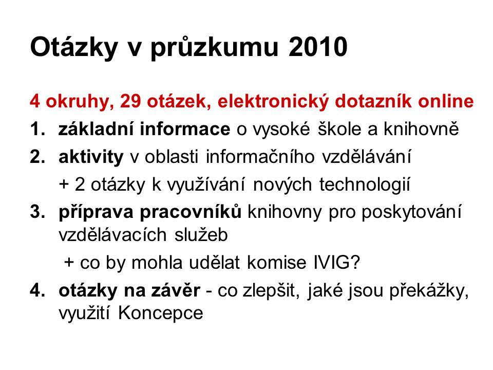 Otázky v průzkumu 2010 4 okruhy, 29 otázek, elektronický dotazník online 1.základní informace o vysoké škole a knihovně 2.aktivity v oblasti informačního vzdělávání + 2 otázky k využívání nových technologií 3.příprava pracovníků knihovny pro poskytování vzdělávacích služeb + co by mohla udělat komise IVIG.