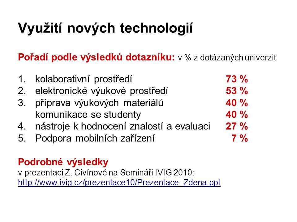 Využití nových technologií Pořadí podle výsledků dotazníku: v % z dotázaných univerzit 1.kolaborativní prostředí 73 % 2.elektronické výukové prostředí53 % 3.příprava výukových materiálů40 % komunikace se studenty40 % 4.nástroje k hodnocení znalostí a evaluaci27 % 5.Podpora mobilních zařízení 7 % Podrobné výsledky v prezentaci Z.