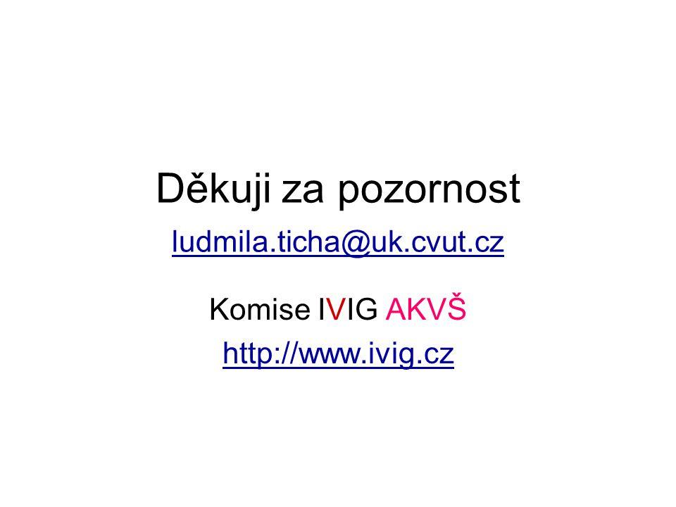 Děkuji za pozornost ludmila.ticha@uk.cvut.cz ludmila.ticha@uk.cvut.cz Komise IVIG AKVŠ http://www.ivig.cz