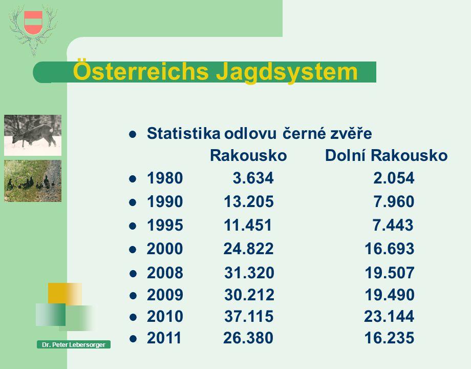 Österreichs Jagdsystem  Statistika odlovu černé zvěře RakouskoDolní Rakousko  2008 31.320 19.507  2009 30.212 19.490  2010 37.115 23.144  2011 26