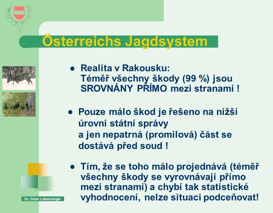 Österreichs Jagdsystem Dr. Peter Lebersorger  Realita v Rakousku: Téměř všechny škody (99 %) jsou SROVNÁNY PŔÍMO mezi stranami !  Pouze málo škod je