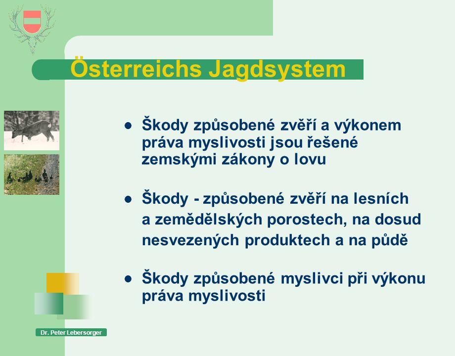 Österreichs Jagdsystem Dr. Peter Lebersorger  Škody způsobené zvěří a výkonem práva myslivosti jsou řešené zemskými zákony o lovu  Škody - způsobené